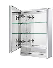Fundin Aluminum Bathroom Medicine Cabinet with Framless Double Sided Mirror Door Recess or Surface Mount;with Open-Storage Shelf, 15 x 26 x 5.24 inch, Silver