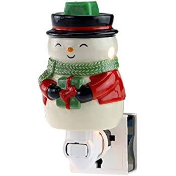 STAR MOON Pluggable Fragrance Warmer Wax Melter for Christmas Decoration Home/Dorm/Office No Flame No Smoke No Soot Packaged Together with Two Bulbs - Best Wish Warming Snowman