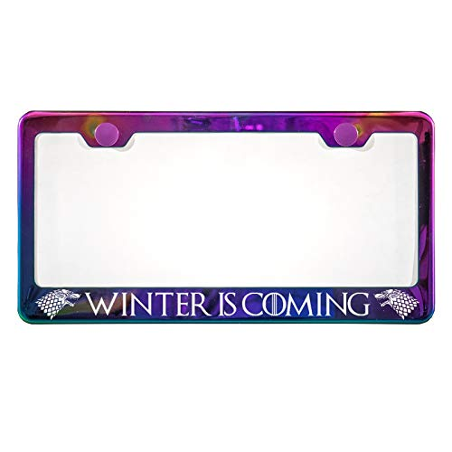 KA LEGEND Game of Thrones House of Stark Winter is Coming Laser Eteched Polish Neo Chrome Mirror Stainless Steel License Plate Frame ()