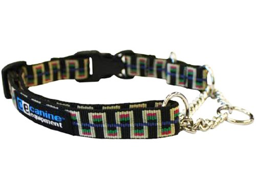 Canine Equipment Ultimate 1-Inch Quick Release Martingale Dog Collar, X-Large, Black Stairs
