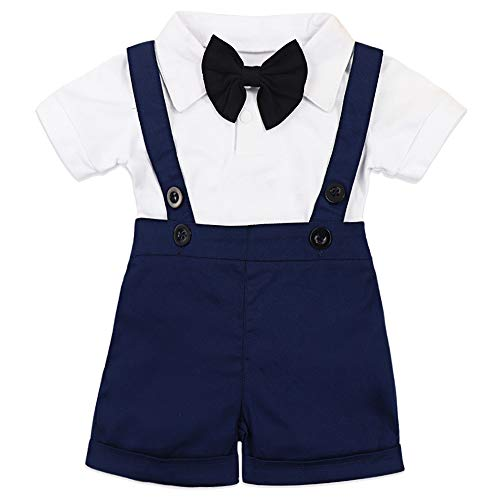 Baby Boy Clothes Gentleman Bowtie Romper and Overalls Suspenders Pants Wedding Tuxedo Outfits(Dark Blue)