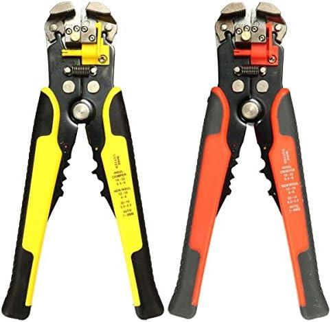 SYF-SYF プライヤーハンドツール、自動カッタープライヤー電気技術圧着工具8インチのアジャスタブルワイヤーケーブルストリッパー(カラー:オレンジ) ペンチ (Color : Yellow)