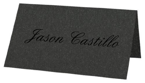Metallic Onyx - Folded Place Cards, Star - Metallic Folded Shopping Results