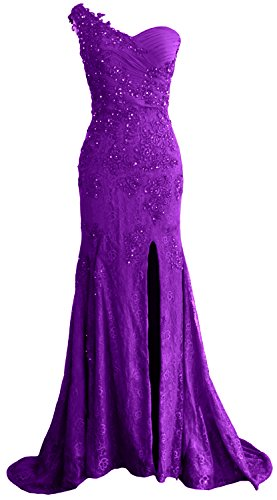 MACloth Gorgeous One Shoulder Long Prom Dress Mermaid Lace Formal Evening Gown Morado
