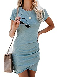 Womens Short Sleeve Sheath Dress Solid Color Irregular Hem Summer Bodycon Mini Dress