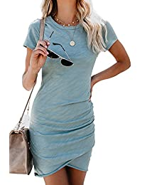 Helury Womens Fall Long Sleeve Leopard Dress Irregular Hem Bodycon Mini Dress