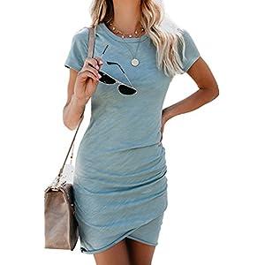 Walant Womens Short Sleeve Sheath Dress Solid Color Irregular Hem Summer Bodycon Mini Dress 15