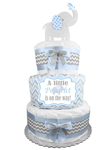 Elephant 3-Tier Diaper Cake - Boy Baby Shower Gift - Blue and Gray