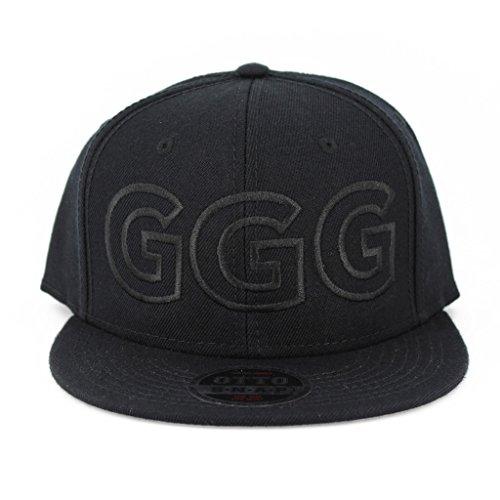 Ggg Black On Black Flat Six Panel Pro Style Snapback Hat  1965