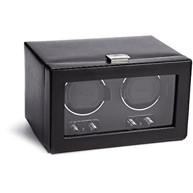 WOLF 270102 Heritage Double Watch Winder with Cover, Black