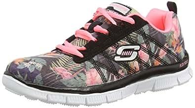 Skechers Skech AppealFloral Bloom - zapatilla deportiva de lona niña, Negro (bkmt), 33