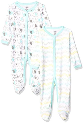 (Luvable Friends Unisex Baby Sleep and Play, Mint Elephant 2-Pack, 3-6 Months (6M))