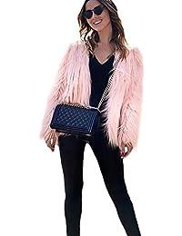 Women's Solid Color Long Sleeve Shaggy Faux Fur Short Coat Jacket