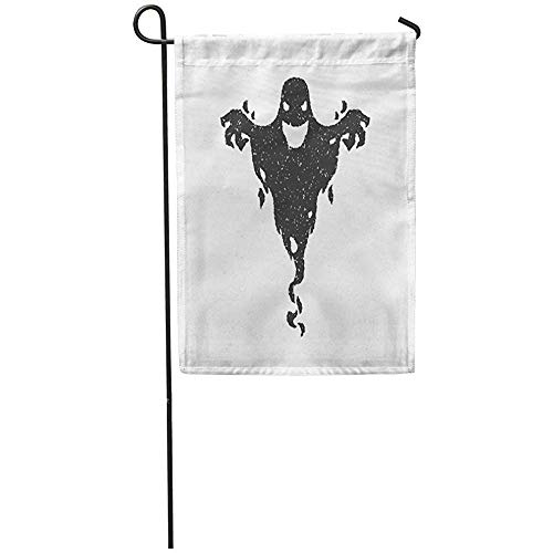 Garden Flag 12x18 Inches Print On Two Side Polyester Monster Halloween Scary Ghost White Shadow Silhouette Clipart Old Devil Spirit Home Yard Farm Fade Resistant Outdoor House Decor -