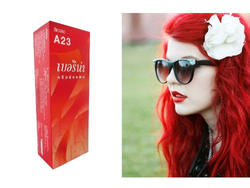 Berina (A23) Permanent Hair Color Dye Bright Red Color : 1 Box]()