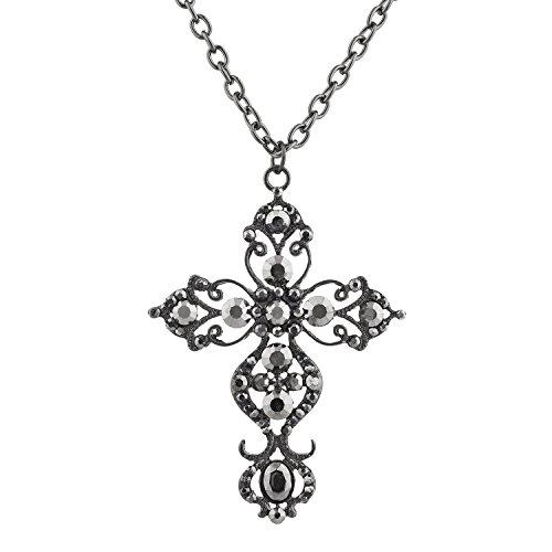 Lux Accessories Hem Black Dark Circle Rhinestones Royal Cross Chain Necklace