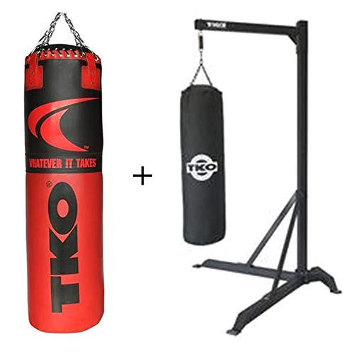 - TKO Signature Heavy Bag PVC Coated Vinyl Outer Shell 75 Lbs Commercial Heavy Bag Stand Heavy with Steel Frame Construction 100lb