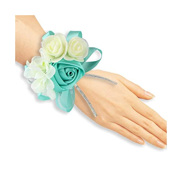 zilue Pack of 4 Wedding Girl Bridesmaid Wrist Corsage Hand Flower Party Prom Accessories Tiffanyblue