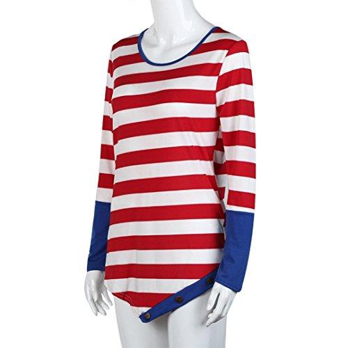 Rcool - Camisas Manga Larga de la Camiseta de la Poliéster de las Mujeres Rayas Costura Cuello Redondo Pullover Blusa Tops Rojo