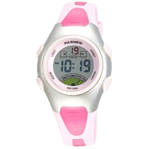 Pasnew Fashion Waterproof Children Boys Girls Digital Sport Watch with Alarm, Chronograph, Date (Pink)pse-219pink