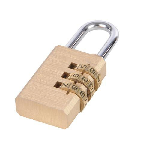 3-digit Combination Padlock Brass - Shackle Diameter 5mm Loops
