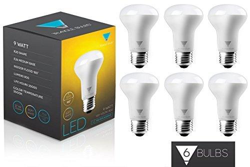Triangle Bulbs T95059-6 (6 pack) - 9-Watt (65-Watt) R20 Indoor Flood LED Light Bulb, Soft white (3000K), 700 Lumens, Dimmable, 6-Pack 9w Led Spot Light Bulb