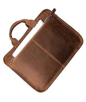 MUMUWU Mens Briefcase Vintage Crazy Horse Leather Mens Bag Leather Briefcase Tote Briefcase for Men Color : Brass, Size : L