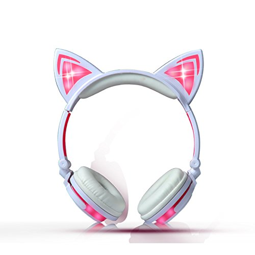 Kids Headphones Wired Over-ear Foldable LED Gaming Flashing Lights with USB Charger Earphone Headset for iPhone 6s,6s Plus,Android,iPad and Computer (White&pink,New version) Review