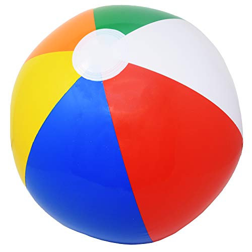 Beachgoer 20-Inch Bulk Pack of 12 Inflatable Rainbow Color Beach Balls - Large Plastic Inflatable Beachballs for Beach/Pool Parties/Summer Fun -