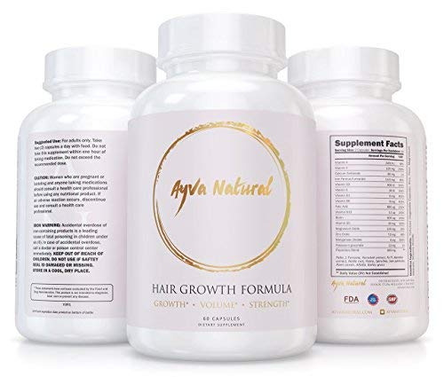 Ayva Natural Hair Growth Formula For Longer, Stronger, Frizz-Free, Healthier Hair - Scientifically Formulated With Biotin, Keratin For All Hair Types