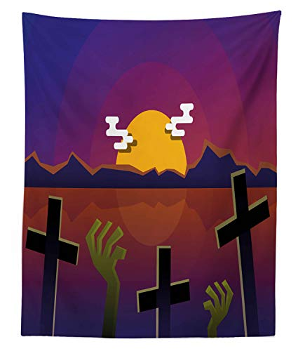 Lunarable Horror Movie Tapestry Twin Size, Halloween Themed Nighttime View of a Grave, Wall Hanging Bedspread Bed Cover Wall Decor, 68 W X 88 L Inches, Earth Yellow Green Brown Pale Redwood Indigo -