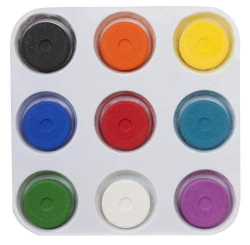 Tempera Paint Set for Kids - WASHABLE Children's Non-Toxic Tempera Paint Cakes with Palette Clean with Just Soap & Water