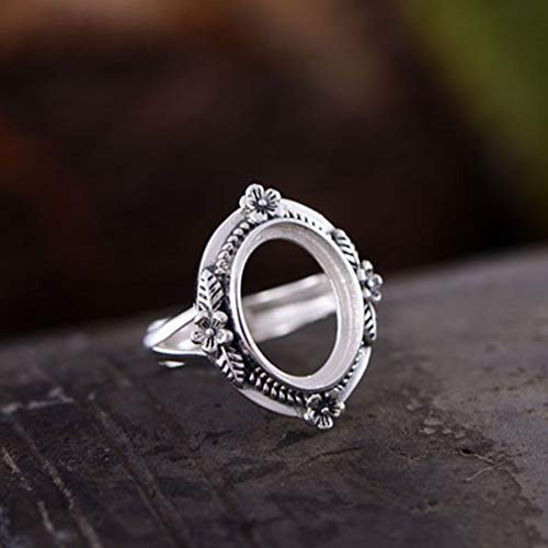 (Ring Blank (12x16mm Oval Blank) Adjustable Thai Sterling Silver Ring Base Flower Ring Setting R317B)