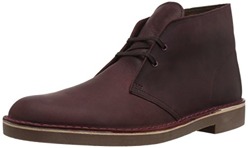 Shoes Casual Men Leather (Clarks Men's Bushacre 2 Chukka Boot, Wine Leather, 10.5 M US)