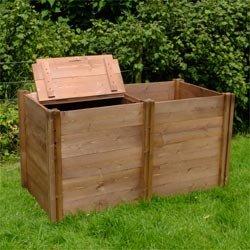Doble Madera compostador con dos tapas - 75 cm x 180 cm x 90 ...