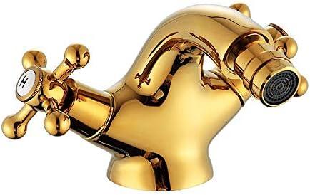 蛇口 ヨーロピアンスタイルのすべての銅ゴールデンダブルハンドル蛇口流域の蛇口ホットとコールド蛇口 キッチンとバスルームに適しています (Color : Gold, Size : AS PICTURE)
