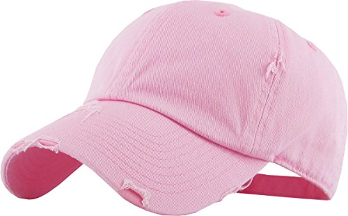 - KBETHOS Vintage Washed Distressed Cotton Dad Hat Baseball Cap Adjustable Polo Trucker Unisex Style Headwear (Vintage) Pink Adjustable