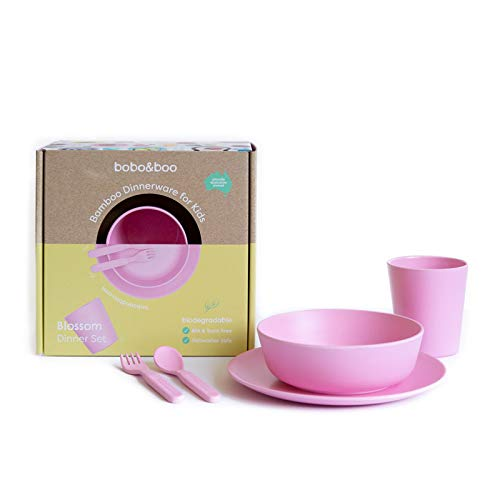 Bobo&Boo Bamboo 5 Piece Children's Dinnerware, Blossom Pink, Non Toxic & Eco Friendly Kids Mealtime Set for Healthy Infant Feeding, Great Gift for Birthdays, Christmas & Preschool Graduations ()