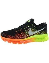 NIKE Flyknit Max Mens Running Shoes Size US 12.5, Regular Width, Color Black/Sail/Atomic Orange/Volt