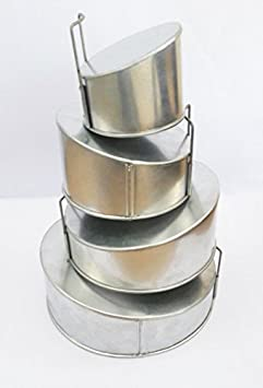 Set of 4 Tier Mini Topsy Turvy Round Multilayer Birthday Wedding Anniversary Cake Tins Cake Pans Cake Moulds 5 .7 .9 .11 all lower 2.5 x higher 4 deep