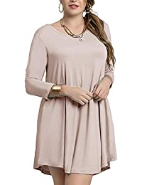 Women's Casual Loose 3/4 Sleeve Simple Plain Swing Flowy...