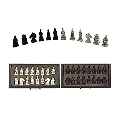 Chess Chinese Tterracotta Warriors Chess Set 26X26x6.5 cm, Vintage Collection Wood Carving Resin Chessman Christmas, Birthday Premium Gifts: Toys & Games