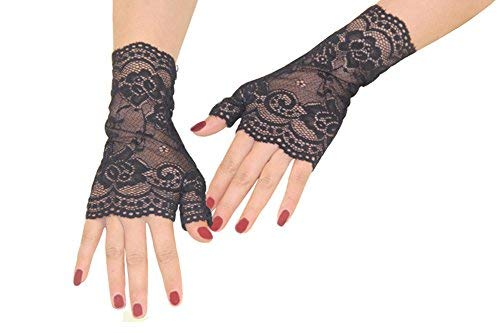 FloYoung Women Bridal Short Lace Half Finger Party Dress Gloves Black -