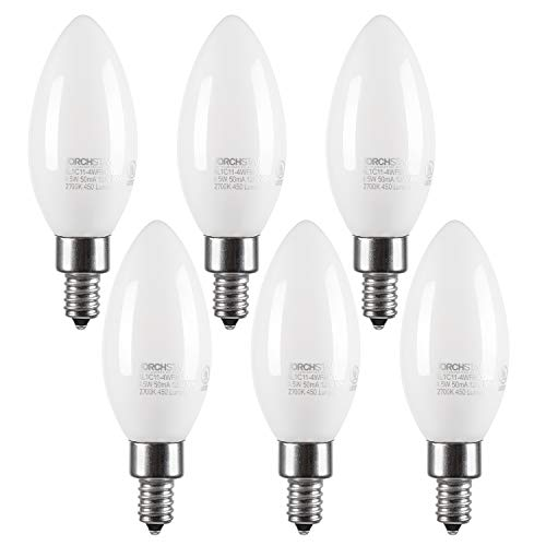 LED Dimmable Frosted Glass Filament Candelabra Bulb, 4.5W (60W Equiv.) C11 Decorative Milky Candle Bulb, UL-listed, 2700K Soft White, 500lm, 360