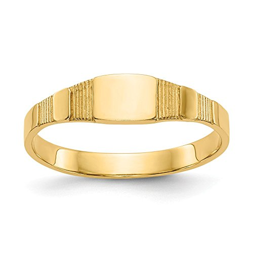 14k Yellow Gold Square Baby Signet Band Ring Size 1.75 Fine Jewelry Gifts For Women For Her ()