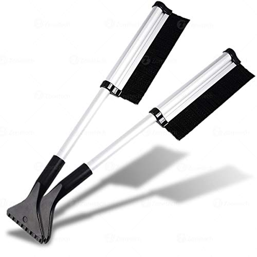 Zone Tech Extendable 2-Pack Telescoping Ice Scraper Snow Brush - Extends Retracts from 17