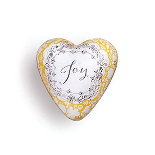 DEMDACO Joy Floral Yellow 2 x 2 Resin Stone Collectible Art Heart Token Figurine