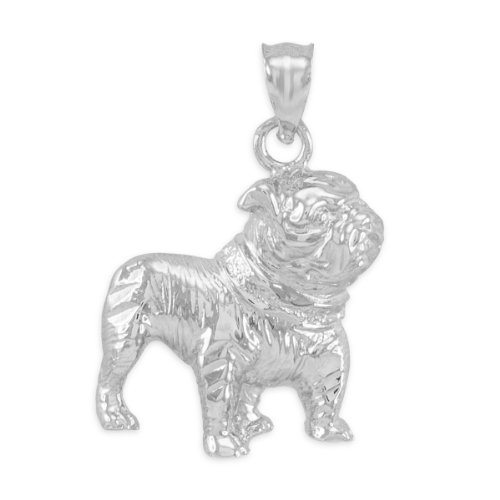 Polished 925 Sterling Silver English Bulldog Charm Pendant (Pug Sterling Silver)