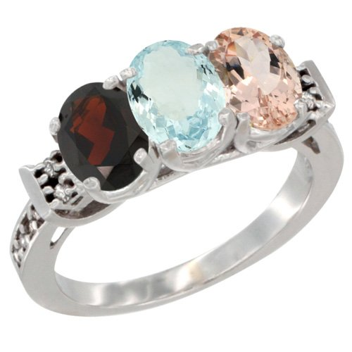 10K White Gold Natural Garnet, Aquamarine & Morganite Ring 3-Stone Oval 7x5 mm Diamond Accent, size 10 by Silver City Jewelry