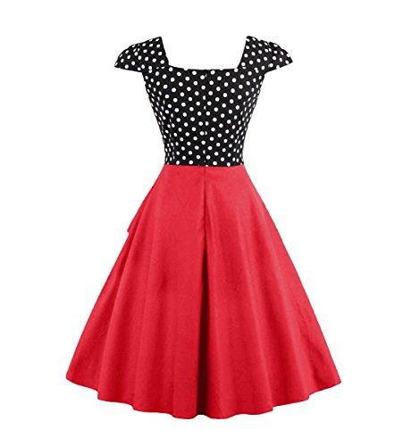 U8Vision - Vestido - trapecio - para mujer Rojo